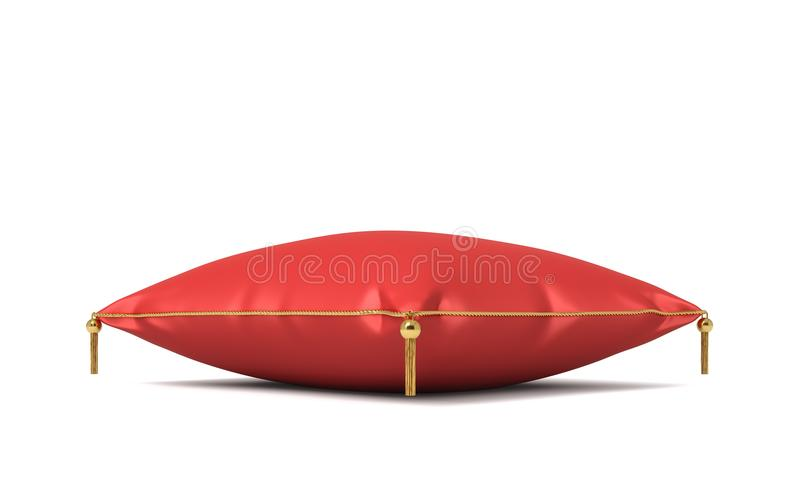 3d rendering of a red silk royal pillow with golden tussels isolated on a white background. Home decor. Royal wealth. Leaning on pillow royalty free illustration