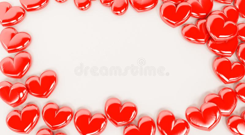 Red valentine hearts isolated on a white background. 3D rendering of red valentine hearts isolated on a white background. Valentines day royalty free illustration