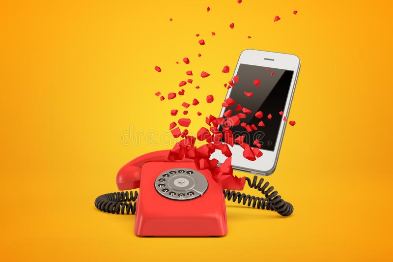3d rendering of red wireline phone breaking in pieces and white modern smartphone behind it on amber background. royalty free illustration