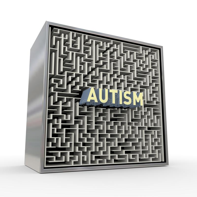 3d puzzle maze labyrinth box of autism concept. 3d rendering of red word text autism inside puzzle maze labyrinth box vector illustration