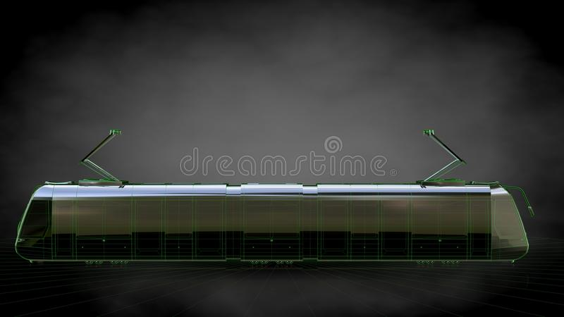 3d rendering of a reflective train with green outlined lines as vector illustration