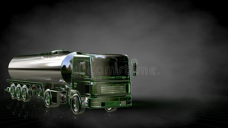 3d rendering of a reflective truck with green outlined lines as vector illustration