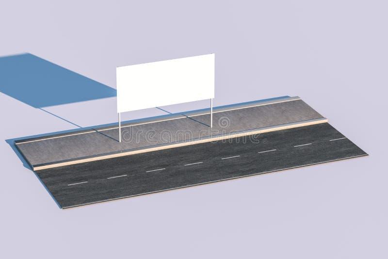 3d rendering, reklamowy billboard na stronie droga ilustracji