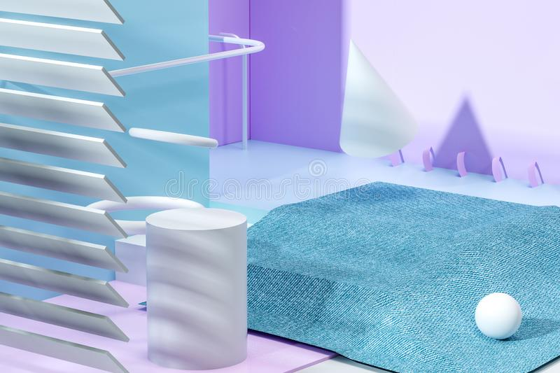 3d rendering, relaxing tint color room with creative shapes. Computer digital background home interior apartment floor cartoon illustration furniture house royalty free illustration