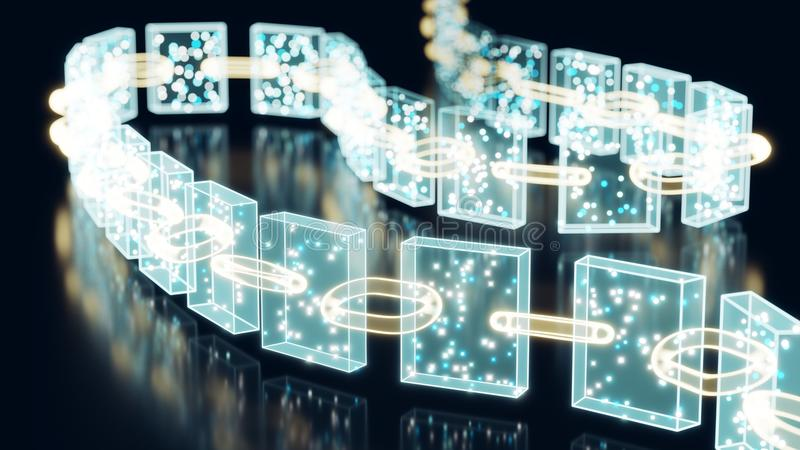 Blockchain Crypto Currency. 3D rendering representing a blockchain made out of hollographic blocks and chain links, white and blue dots inside blocks represent stock illustration