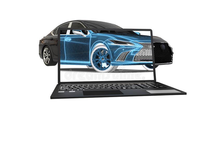 3D rendering reprezentuje promieniowanie rentgenowskie samochód z laptopem royalty ilustracja