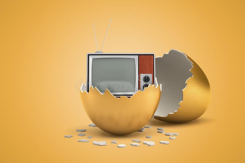 3d rendering of retro TV set that just hatched out from golden egg. royalty free illustration