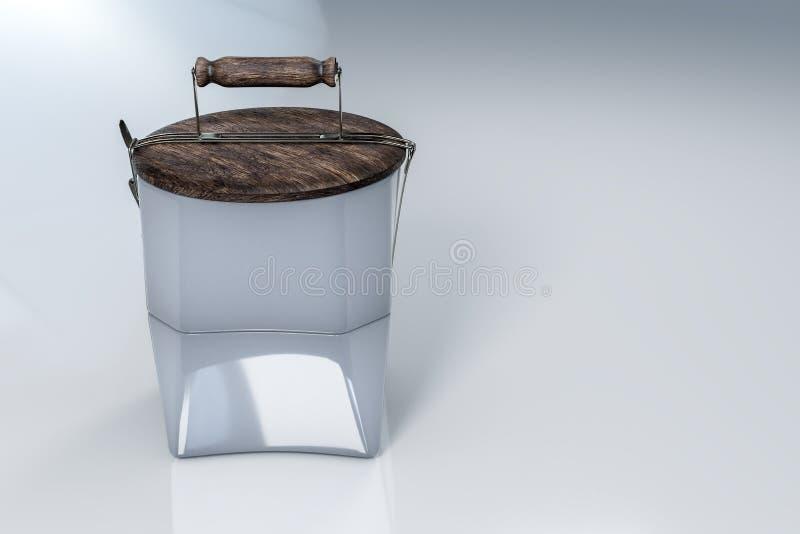 3d rendering reusable lunchu ceramiczni puchary i drewniany dekiel jako talerz na wierzcho?ku, na bia?ym odbijaj?cym tle z ?cinki royalty ilustracja