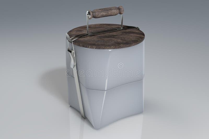3d rendering reusable lunchu ceramiczni puchary i drewniany dekiel jako talerz na wierzcho?ku, na bia?ym odbijaj?cym tle z ?cinki ilustracja wektor
