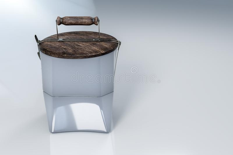 3d rendering of reusable tiffin ceramic bowls and wood lid as a plate on top, on white reflective background with clipping. 3d rendering of reusable tiffin royalty free illustration