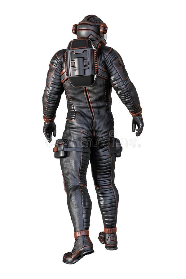 Rear View of Astronaut Isolated stock illustration