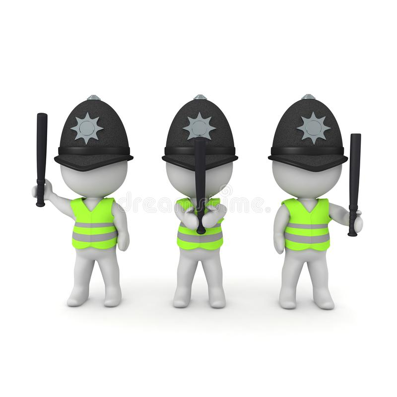 3D Rendering of riot police with police batons. 3D Rendering isolated on white stock illustration
