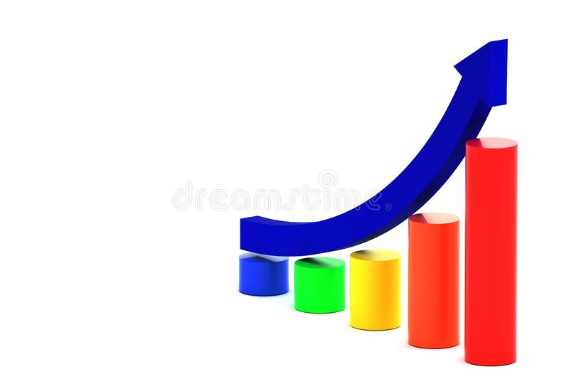 Rising arrow and bar chart stock illustration