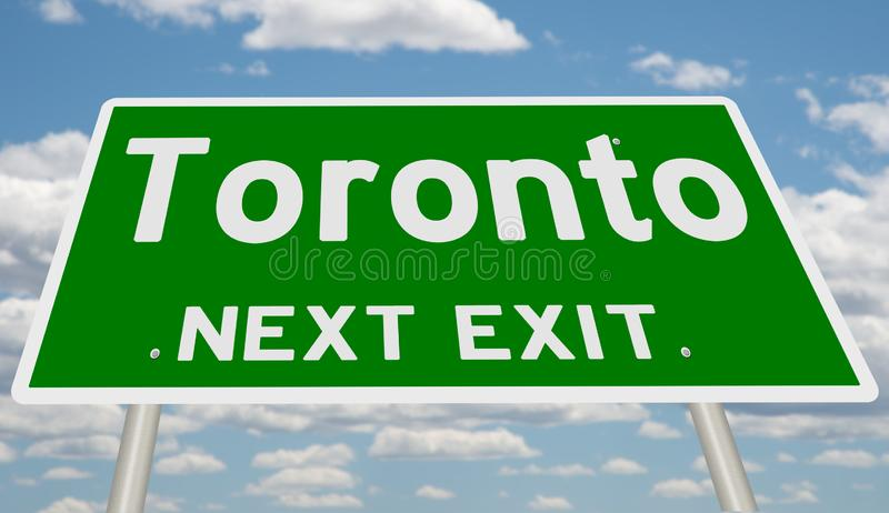 Green highway sign for Toronto next exit. A 3d rendering of a road sign with clouds in the background royalty free illustration