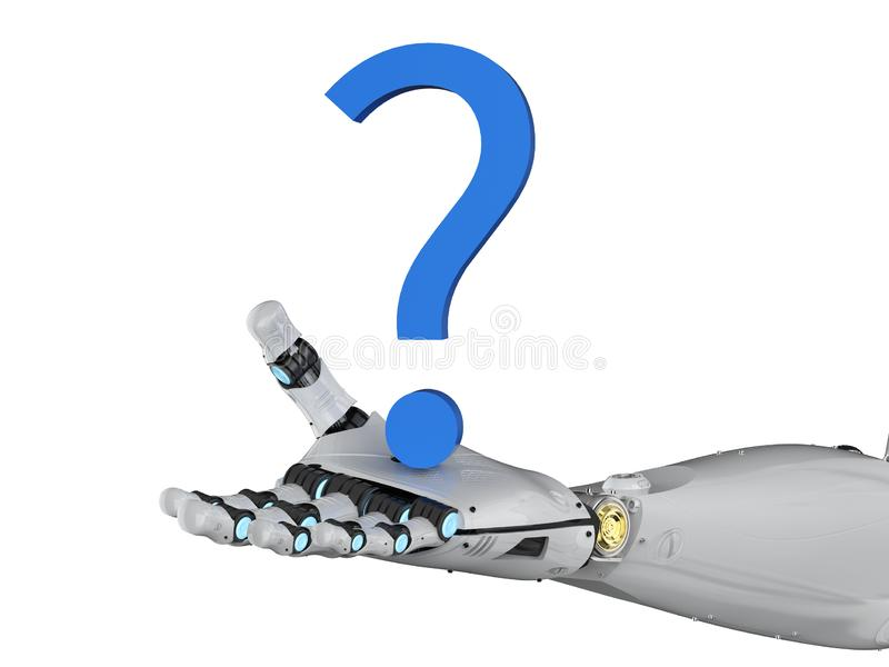 Robot with question mark. 3d rendering robot arm with blue question mark on white background stock illustration