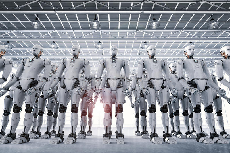 Group of cyborgs in factory. 3d rendering robot army or group of cyborgs in factory royalty free stock photo