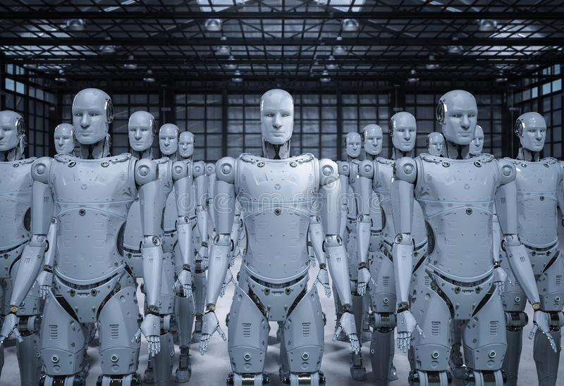 Group of robots royalty free illustration