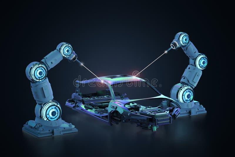 Robot assembly line vector illustration