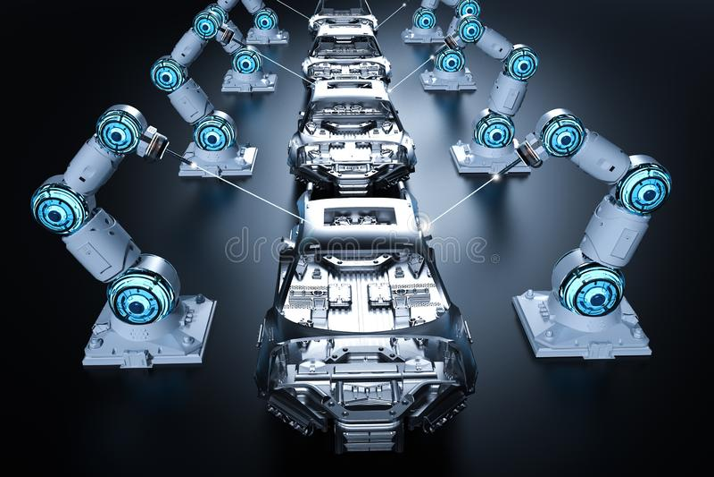 Robot assembly line stock illustration