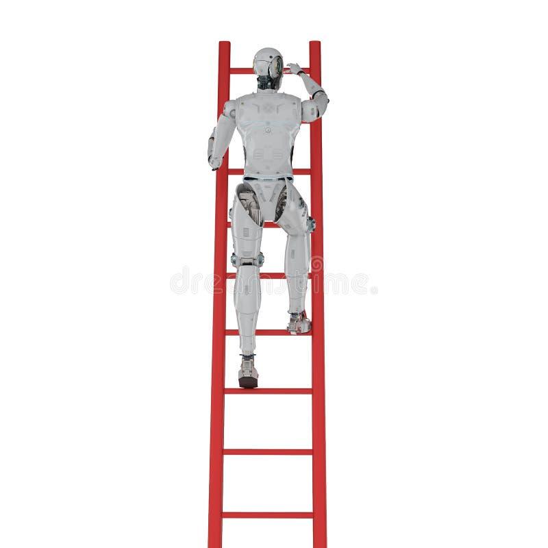 Robot climb ladder stock illustration