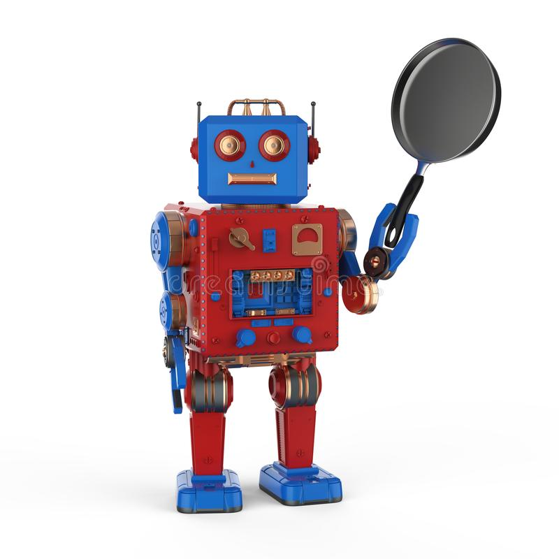 Robot with frying pan. 3d rendering robot hand holding frying pan on white background royalty free illustration