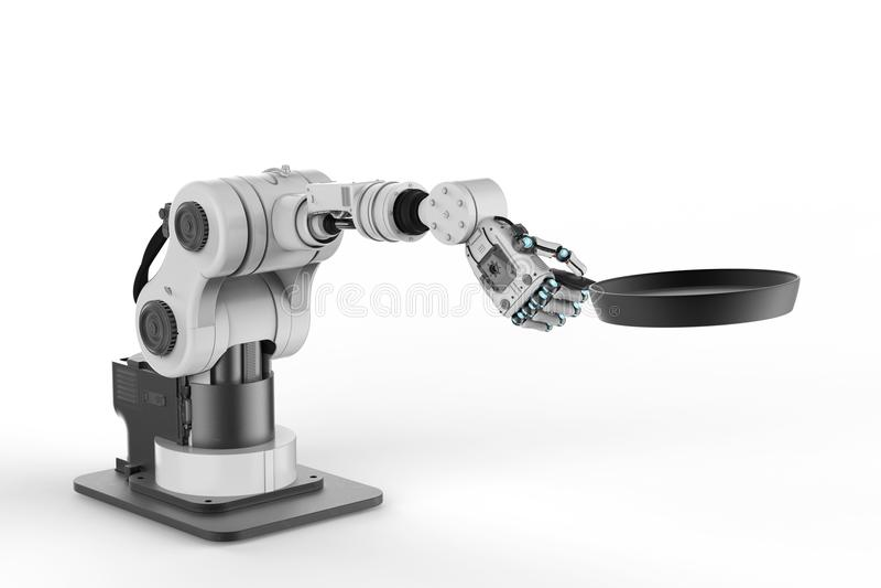 Robot hand holding frying pan royalty free stock image