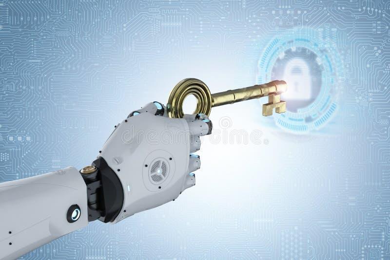 Robot unlock with key. 3d rendering robot hand holding golden key for unlock stock illustration