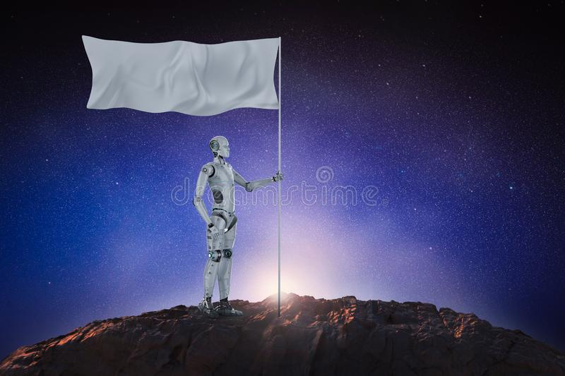Robot with white flag. 3d rendering robot hold white flag with pole stock illustration