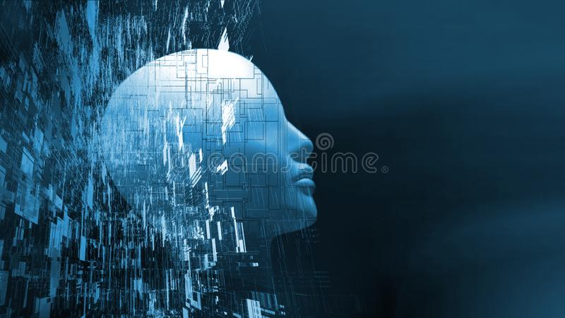 3D Rendering of robot`s head with abstract technology background. Concept for Artificial intelligence stock photos