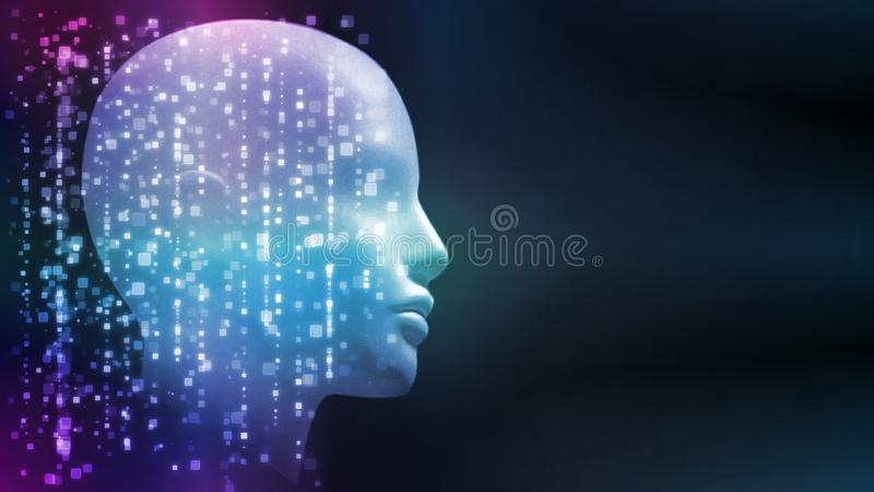 3D Rendering of robot`s head with abstract technology background. Concept for Artificial intelligence, big data analysis royalty free illustration