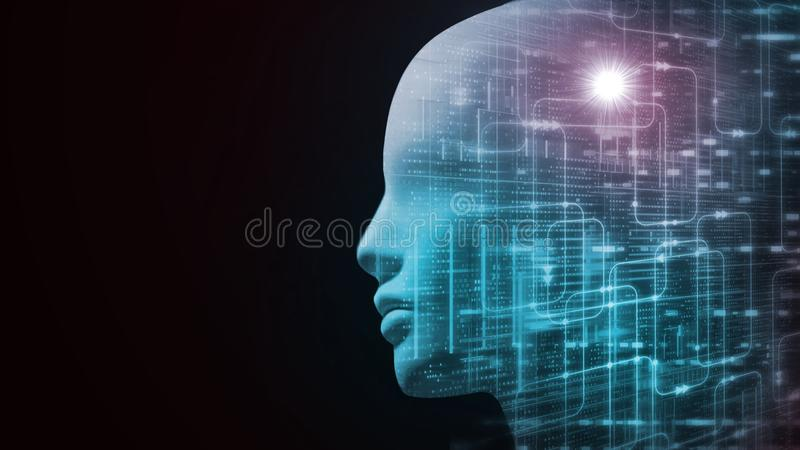 3D Rendering of robot`s head with abstract technology  binary data and software workflow background. vector illustration