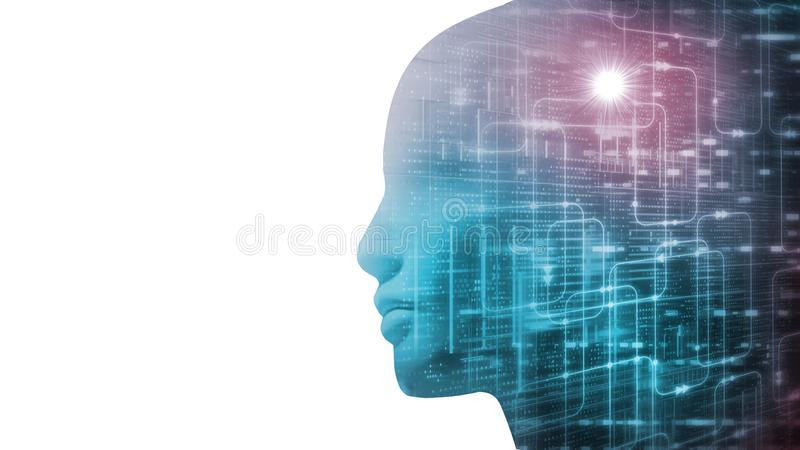 3D Rendering of robot`s head with abstract technology  binary data and software workflow on contrast white background. stock illustration