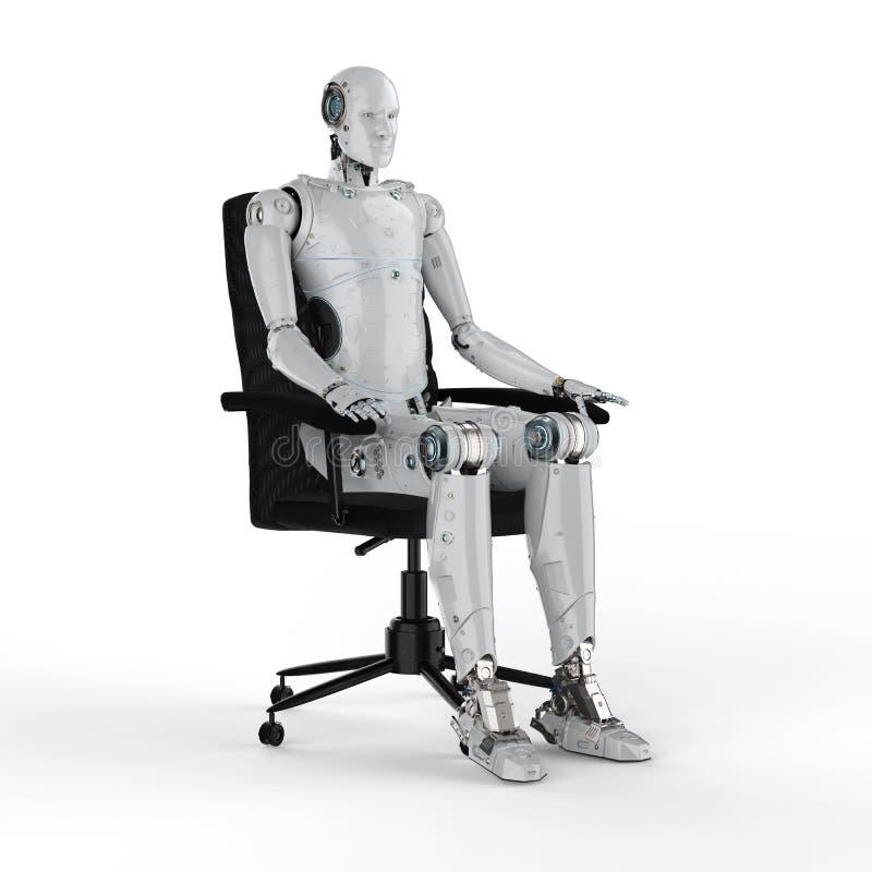 Robot sit on chair vector illustration