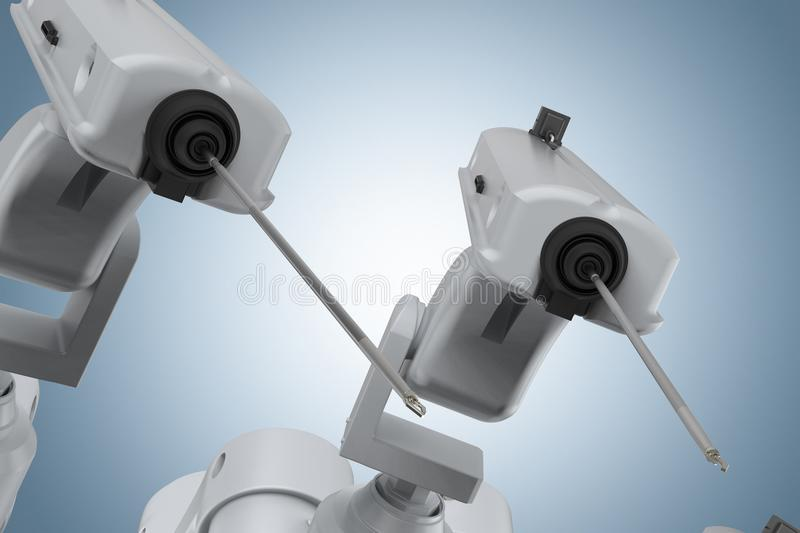 Robot surgery machine. 3d rendering robot surgery machine on blue background royalty free stock photos