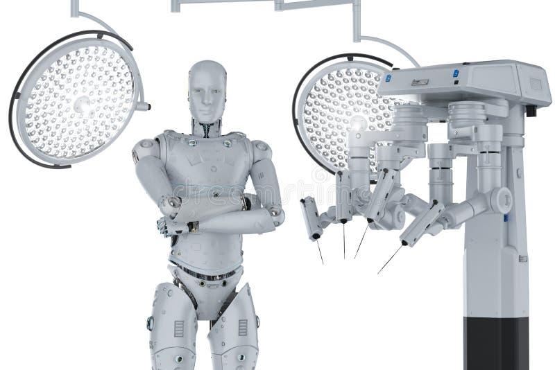 Robot surgery machine vector illustration