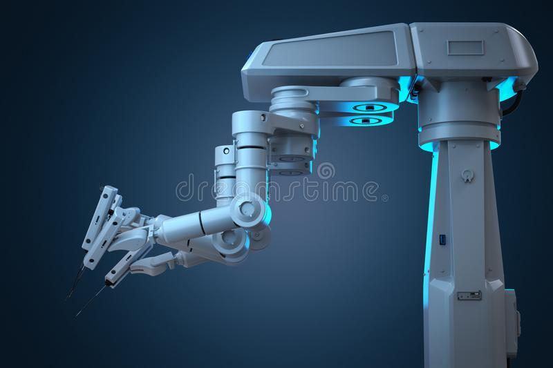 Robot surgery machine. 3d rendering robot surgery machine with four arms vector illustration