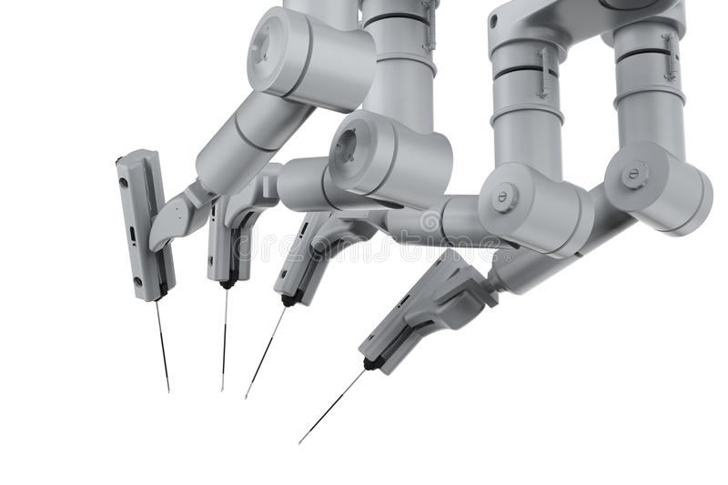 Robot surgery machine. 3d rendering robot surgery machine isolated on white stock images