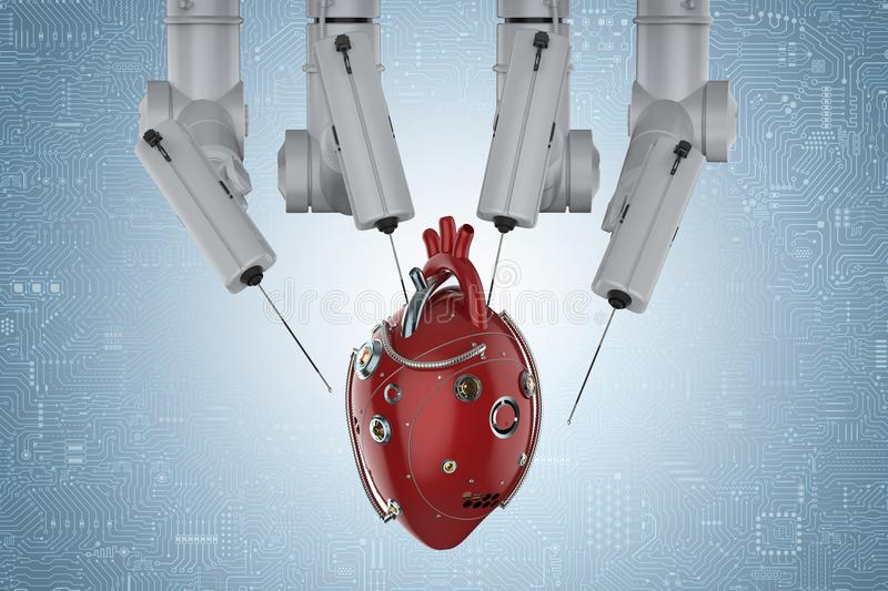 Robot surgery with robotic heart royalty free illustration