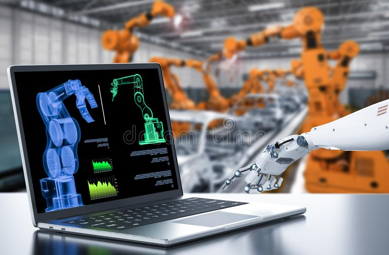 Robot with computer in factory. 3d rendering robot working with computer in factory stock illustration