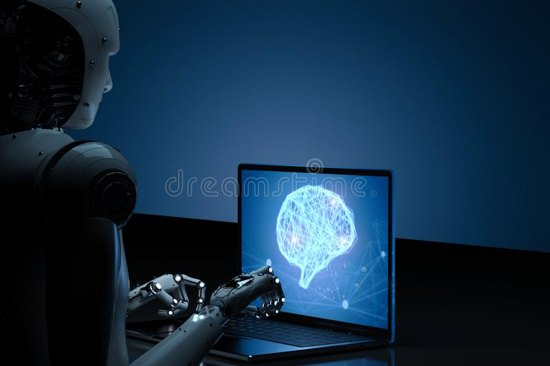 Robot with ai brain on notebook stock images