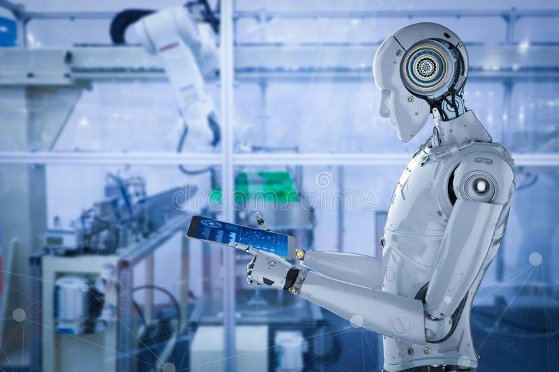 Robot in factory stock illustration