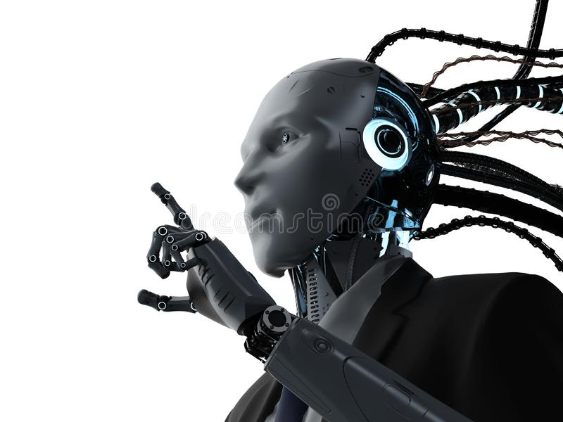 Robotic businessman with cables. 3d rendering robotic businessman with cables wear suit royalty free illustration