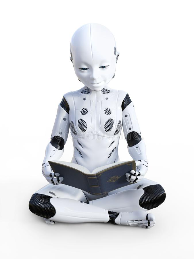 3D rendering of robotic child reading. royalty free illustration