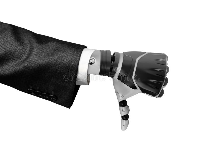 3d rendering of a robotic hand in business suit showing thumb down isolated on white background stock images