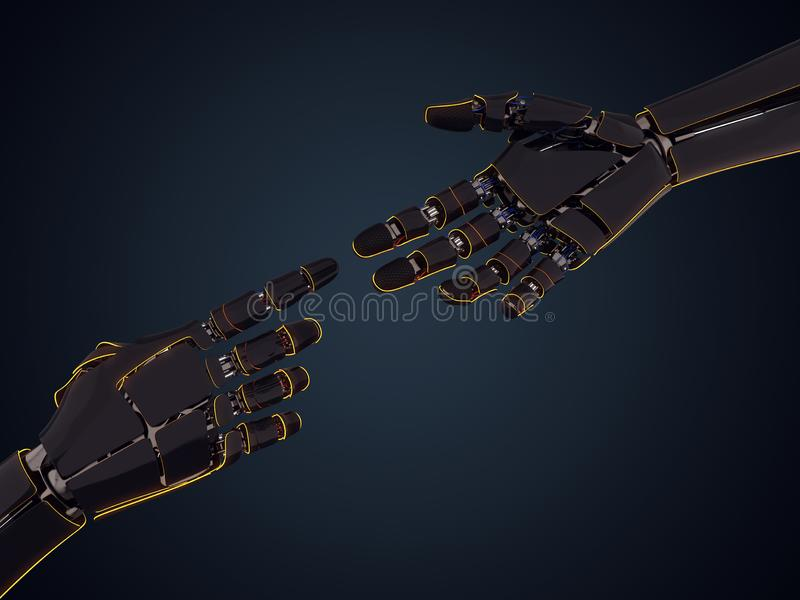 3D rendering robotic hand royalty free illustration