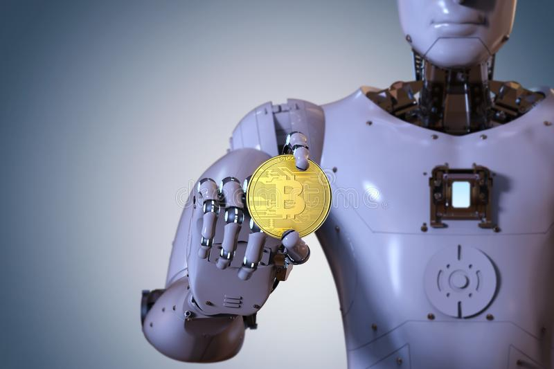 Robot holding gold bitcoin stock images
