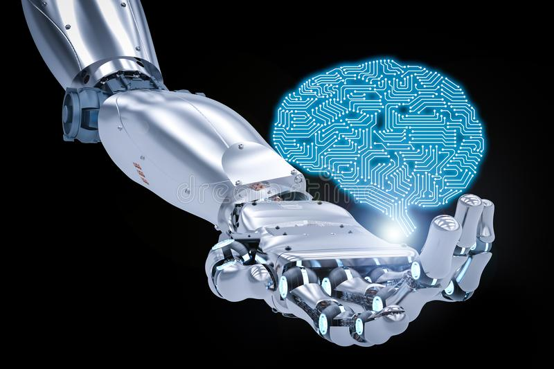 Robotic hand with ai brain royalty free stock photo