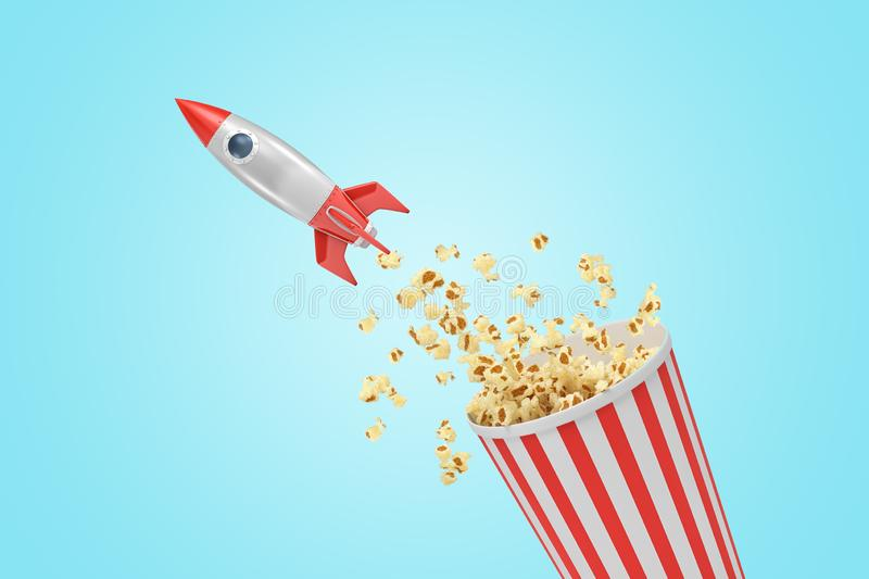 3d rendering of rocket flying out of popcorn bucket on light blue background vector illustration