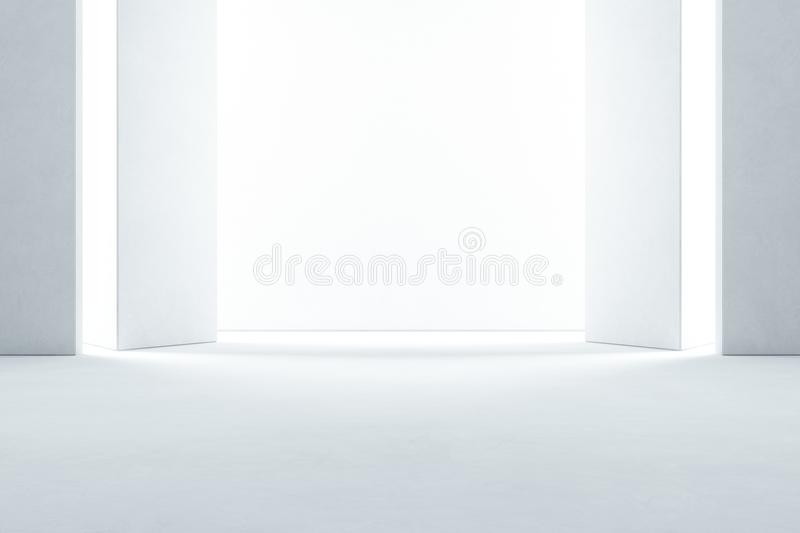 Abstract interior design of modern showroom with empty concrete floor and white wall background - Hall or stage 3d illustration royalty free stock photos