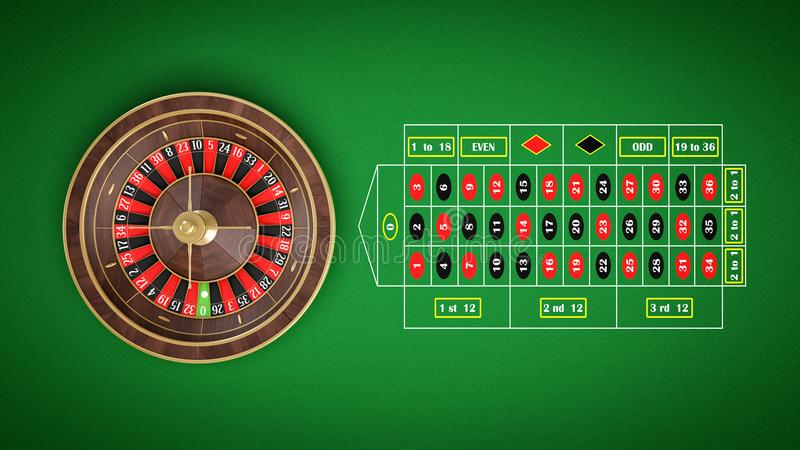 3d rendering of a roulette placed on an endless green surface with a classic betting grid. vector illustration